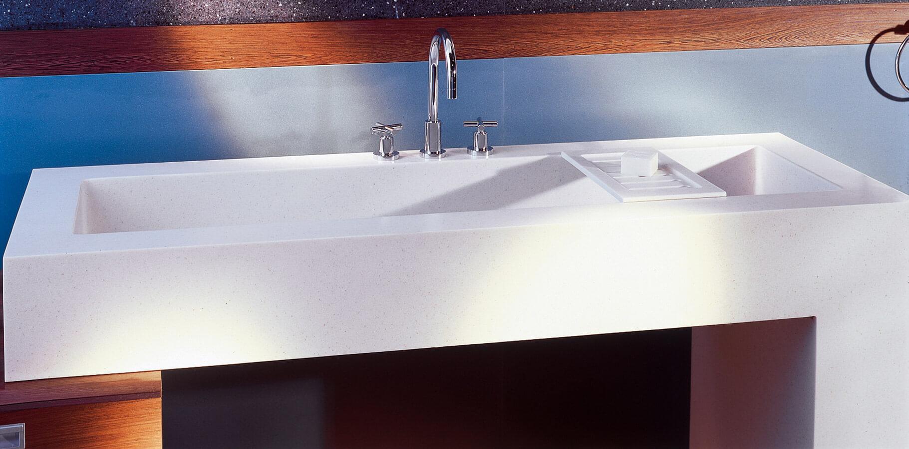 Corian wastafel wastafels op maat correnti - Wastafel rechthoekig badkamer ...